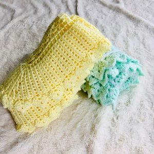 Handmade Crocheted Baby Blanket yellow